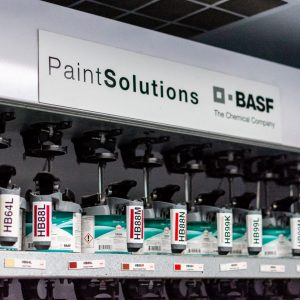 Photo showing the BASF premium automotive paint and clear coat solutions Automotive Collision Specialists uses for collision repair and restoration.