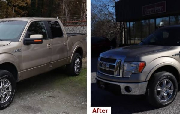 A before and after comparison showing the front three-quarter view of a late model light brown Ford F-150 Super Crew pickup with left front fender replacement and collision repair by the Automotive Collision Specialists Repair Shop in Fuquay Varina NC.