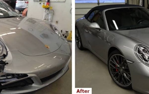 A before and after comparison showing the front view of a late model silver Porsche Carrera convertible with bumper and body collision repair and windshield replacement by the Automotive Collision Specialists Repair Shop in Fuquay Varina NC.
