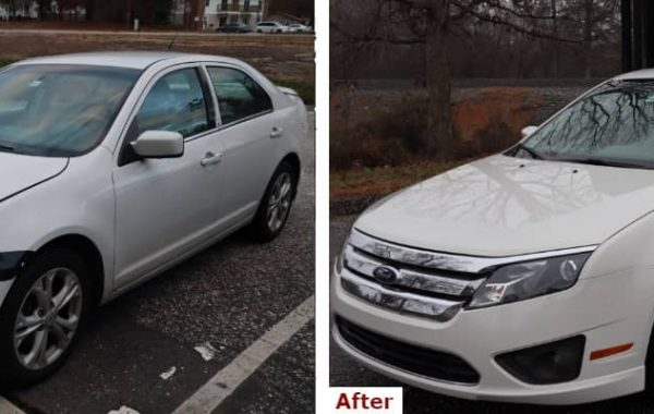 A before and after comparison showing the front three-quarter view of a late model white Ford Fusion sedan with headlight, fender, and bumper collision repair by the Automotive Collision Specialists Repair Shop in Fuquay Varina NC.
