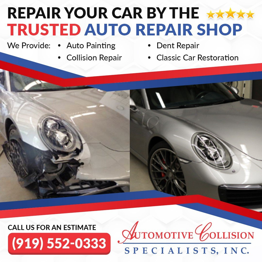 A five star ad showing the before and after comparison photo of a silver Porsche Carrera front end collision repair by Automotive Collision Specialists in Fuquay Varina NC.