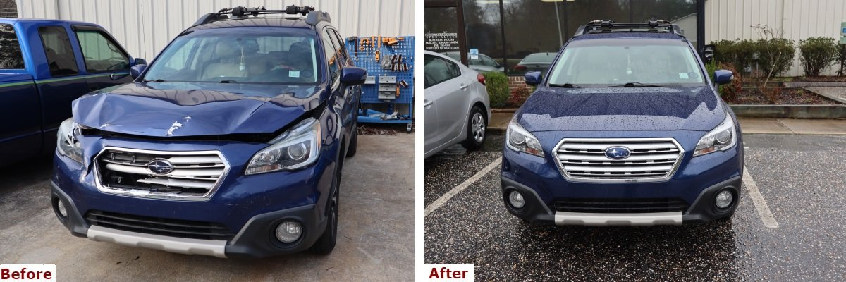 A before and after comparison showing the front view of a late model blue Subaru station wagon with bumper and body collision repair by the Automotive Collision Specialists Repair Shop in Fuquay Varina NC.
