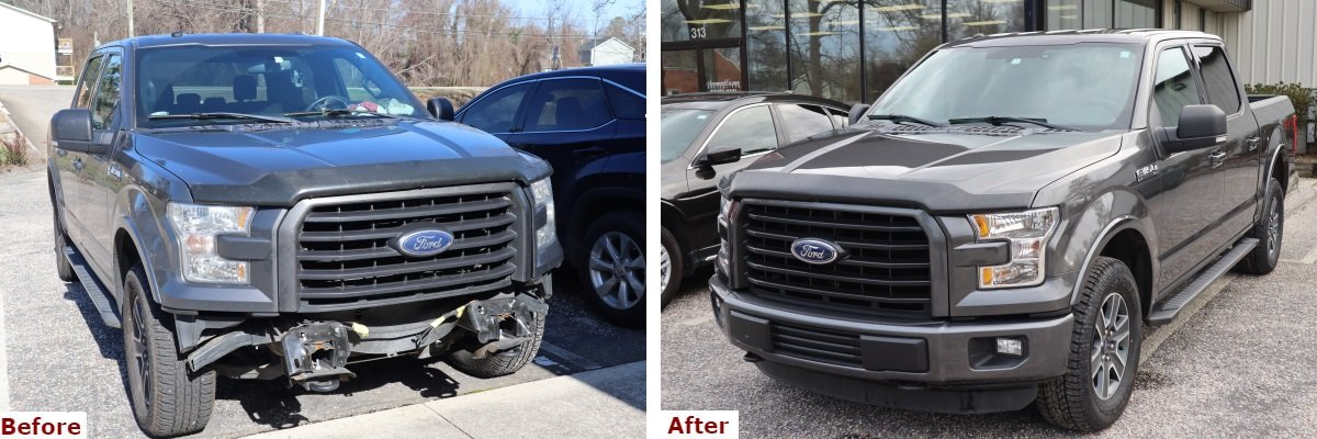 A before and after comparison showing the front three-quarter view of a late model grey Ford F-150 Super Crew pickup with front bumper repair by the Automotive Collision Specialists Repair Shop in Fuquay Varina NC.