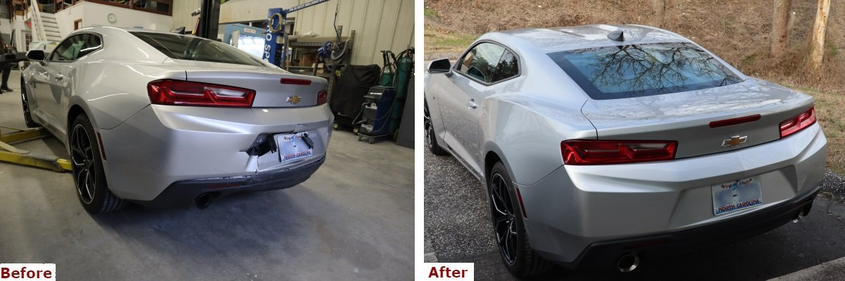 A before and after comparison showing the rear three-quarter view of a late model silver Chevy Camaro with bumper repair by the Automotive Collision Specialists Repair Shop in Fuquay Varina NC.