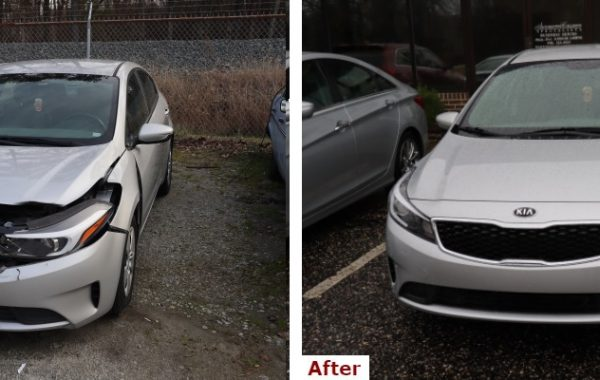 A before and after comparison showing the front view of a late model silver Kia sedan with bumper and body collision repair by the Automotive Collision Specialists Repair Shop in Fuquay Varina NC.