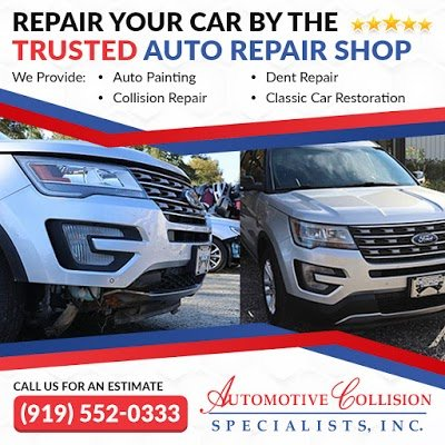 A five star ad showing the before and after comparison photo of a silver Ford Explorer SUV front end collision repair by Automotive Collision Specialists in Fuquay Varina NC.