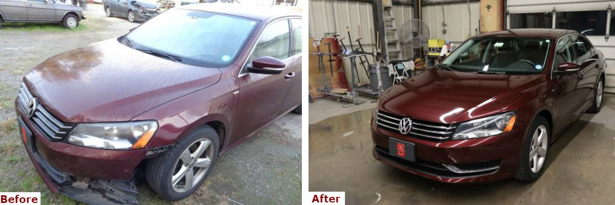A before and after comparison showing the front three-quarter view of a late model burgundy Volkswagen Jetta front bumper repair by the Automotive Collision Specialists Repair Shop in Fuquay Varina NC.