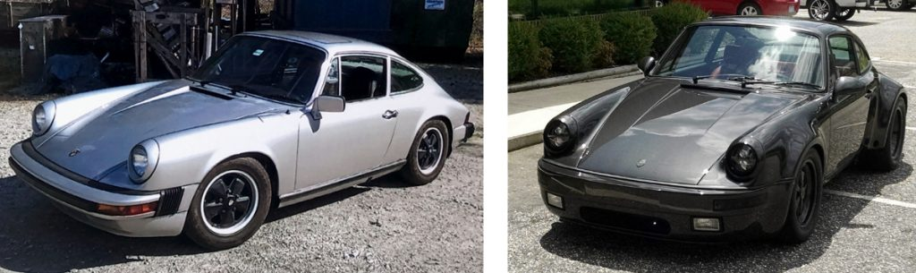 A side by side comparison of a stock silver Porsche 911 that the Automotive Collision Specialists restoration team restored and customized. Changes include new bumpers, headlights, integrated rear fender flares, and custom paint.