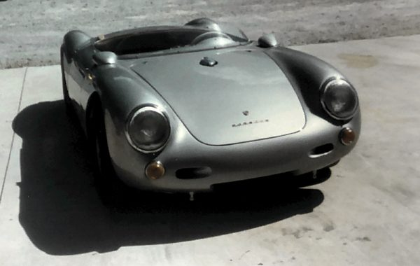 Front view of a silver Porsche 550 Spyder at the Automotive Collision Specialists classic car restoration shop in Fuquay Varina NC.