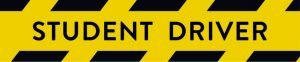Graphic showing a yellow student driver bumper sticker with black writing and warning bars reminding parents to have a checklist in their car to remind them of what to do after a car accident.