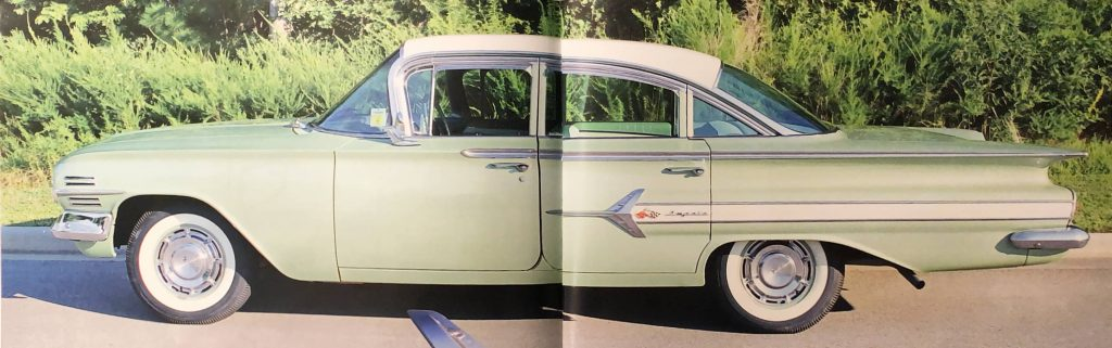 Magazine spread photo of a green and white 1960 Chevy Impala with paint restoration by the classic car restoration team at Automotive Collision Specialists in Fuquay Varina NC.