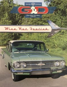 Front cover of the October 2020 VCCA.org G&D Magazine showing a green and white 1960 Chevy Impala with paint restoration by Automotive Collision Specialists in Fuquay Varina NC
