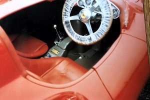 Photo of the interior of a red 1954 Ferrari Monza Spider at Automotive Collision Specialists in Fuquay Varina NC after auto body and paint restoration.