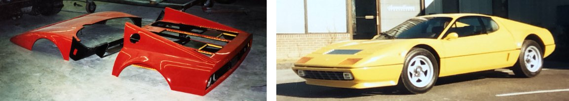 Photo of red Ferrari 512 Boxer body panels next to a photo of the completed car in yellow.