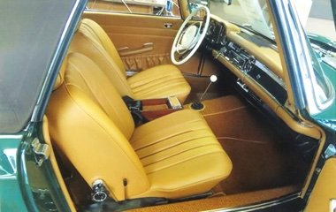 Interior photo of a 1970 Mercedes Benz 280 SL at Automotive Collision Specialists in Fuquay Varina NC after a concourse level restoration.