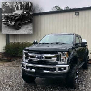 Black Ford F250 Super Duty Pickup Truck Automotive Collision Repair Fuquay Varina NC Before and After